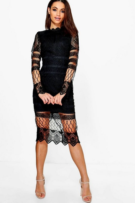 Womens Black Boutique  Lace Panelled Midi Dress