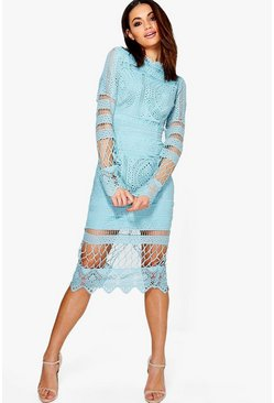 Womens Blue Boutique  Lace Panelled Midi Dress