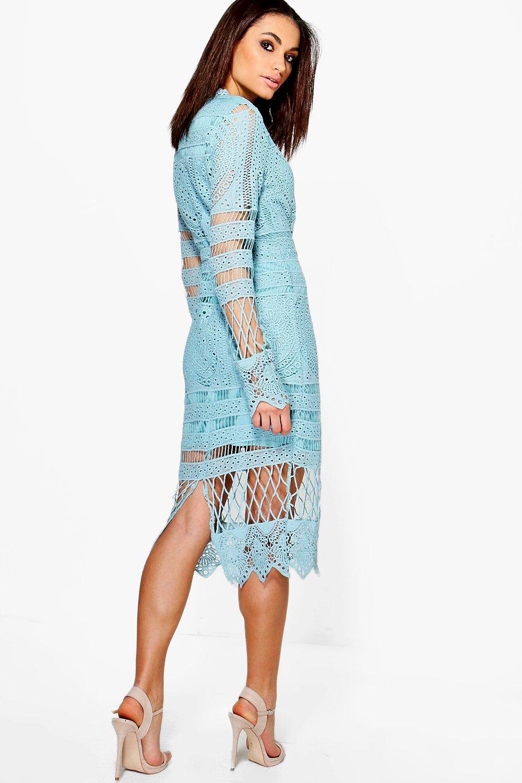 Boohoo Womens Boutique Jay Lace Panelled Midi Dress | eBay