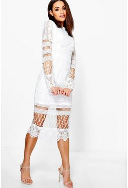Womens Ivory Boutique  Lace Panelled Midi Dress