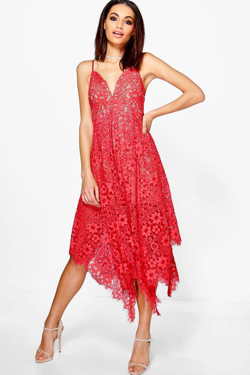 43859eba56c6 Boutique Eyelash Lace Plunge Midi Dress | Boohoo