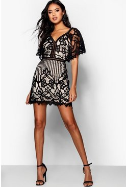 Womens Black Boutique All Over Lace Bodycon Dress