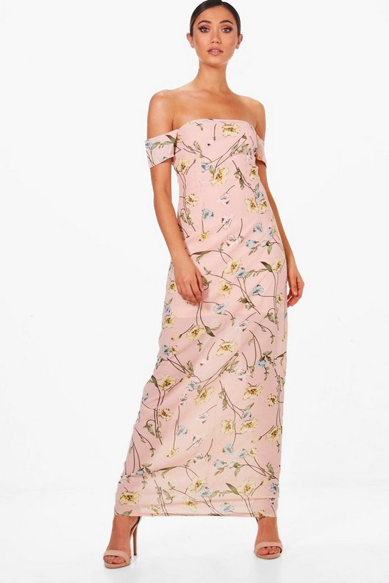 Chiffon Floral Off Shoulder Maxi Dress