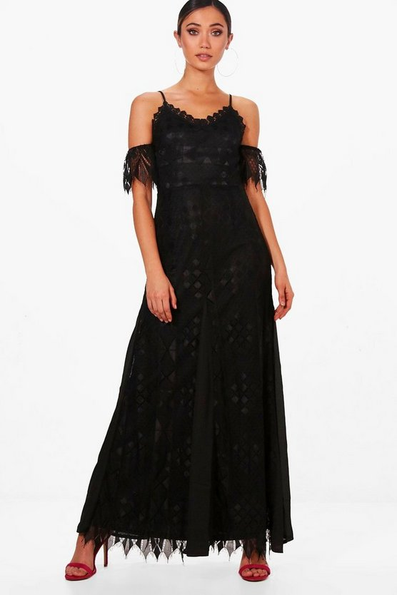 Boutique Che Lace Panelled Maxi Dress