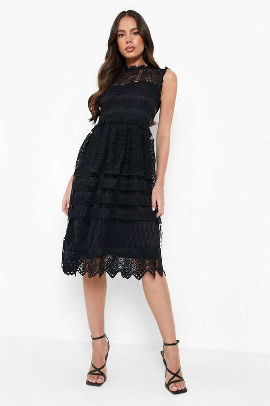 Womens Black Boutique  Lace Midi Skater Dress