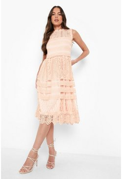 Blush Boutique  Lace Midi Skater Dress