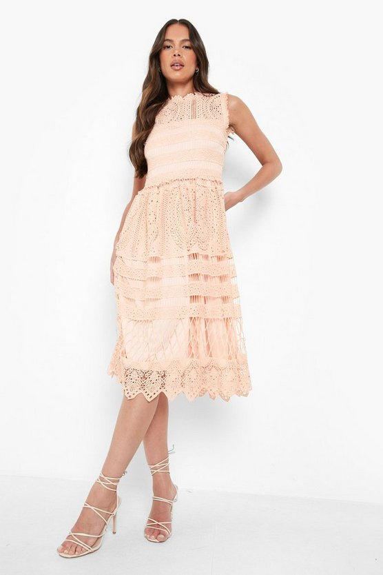 Womens Blush Boutique  Lace Midi Skater Dress