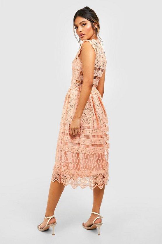 Boutique  Lace Midi Skater Dress