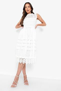 1920s Day Dresses, Tea Dresses, Mature Dresses with Sleeves Boutique  Lace Midi Skater Dress $80.00 AT vintagedancer.com