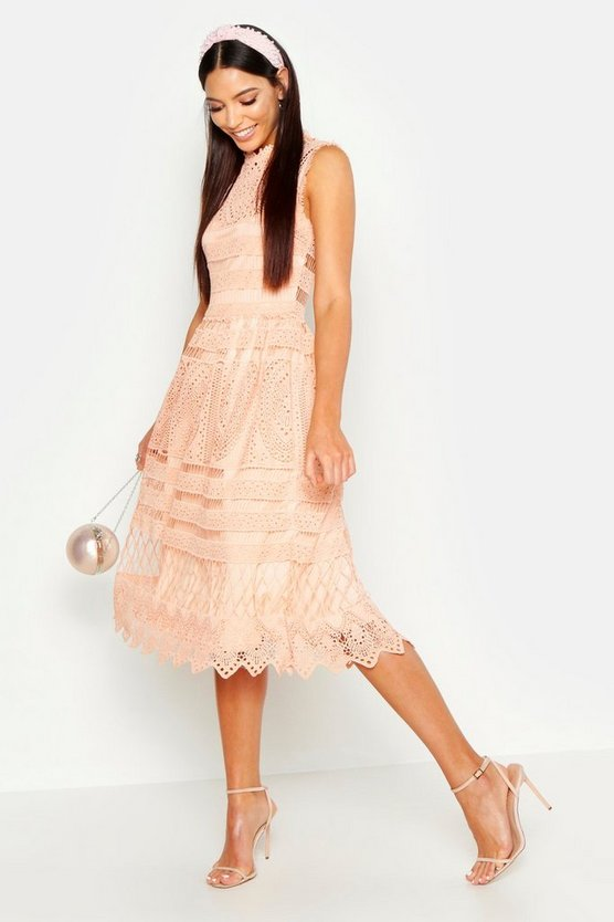 Womens Peach Boutique  Lace Midi Skater Dress