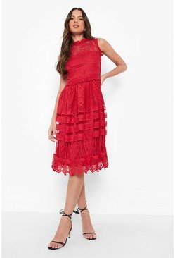 Collection robe patineuse midi en dentelle, Rouge, Femme