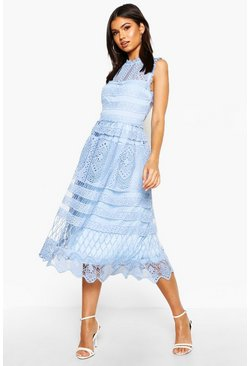 Sky Boutique  Lace Midi Skater Dress