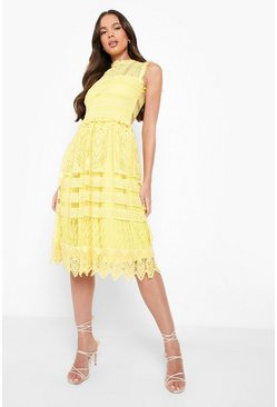 Collection robe patineuse midi en dentelle, Jaune, Femme
