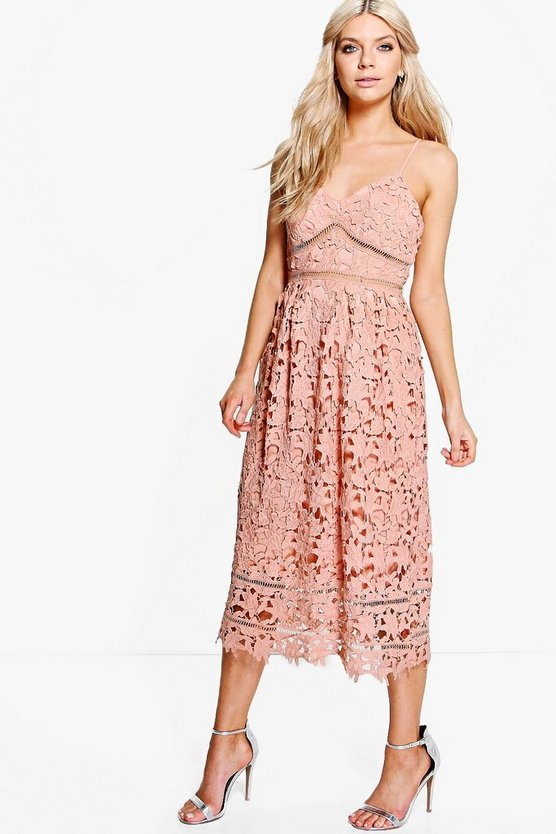Boutique Dia Corded Lace Midi Skater Dress