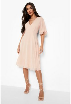 Blush Chiffon Angel Sleeve Midi Skater Bridesmaid Dress