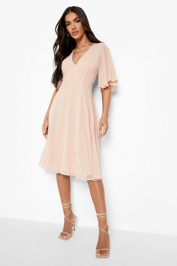 Womens Blush Angel Sleeve Midi Skater Dress