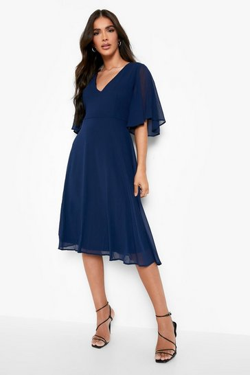 Navy Angel Sleeve Midi Skater Dress