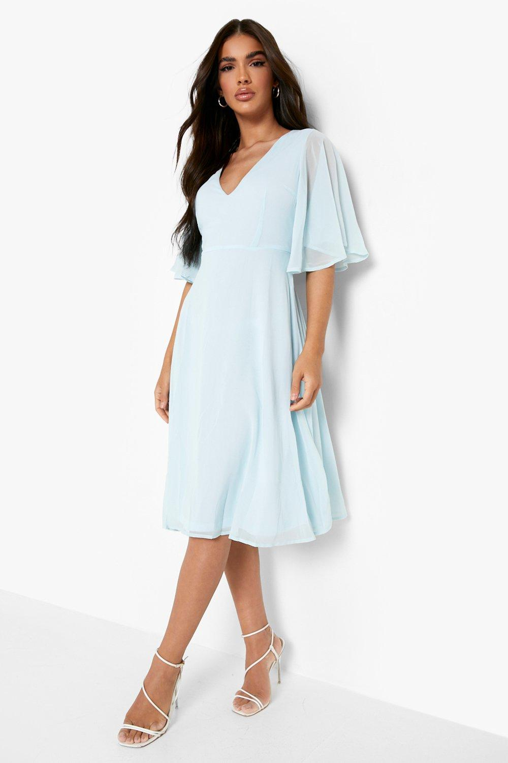 1930s Dresses | 30s Art Deco Dress Womens Chiffon Angel Sleeve Midi Skater Bridesmaid Dress - Blue - 12 $19.20 AT vintagedancer.com