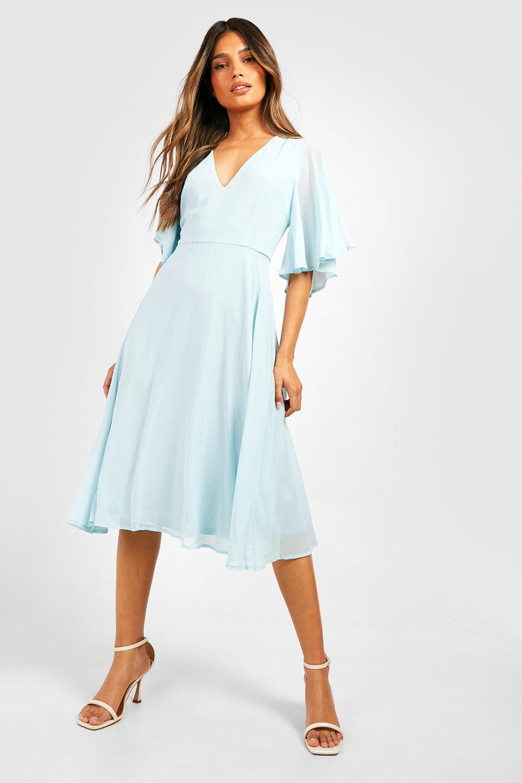 70s Dresses – Disco Dress, Hippie Dress, Wrap Dress Womens Chiffon Angel Sleeve Midi Skater Bridesmaid Dress - Blue - 12 $45.00 AT vintagedancer.com