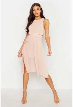Womens Blush Chiffon Double Layer Midi Skater Dress