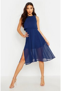 Womens Navy Chiffon Double Layer Midi Skater Dress