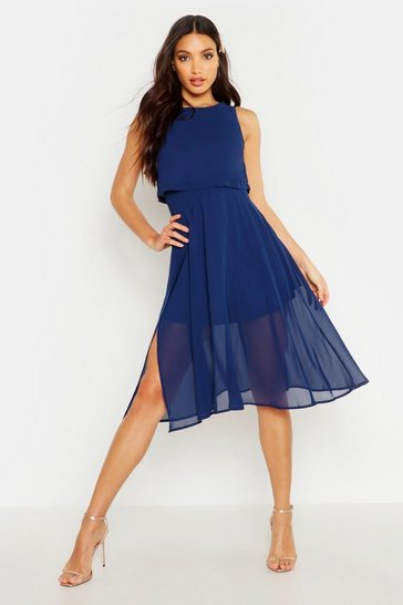 Navy Chiffon Layered Midi Skater Bridesmaid Dress