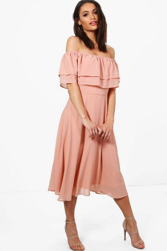 Galores Chiffon Ruffle Midi Skater Dress