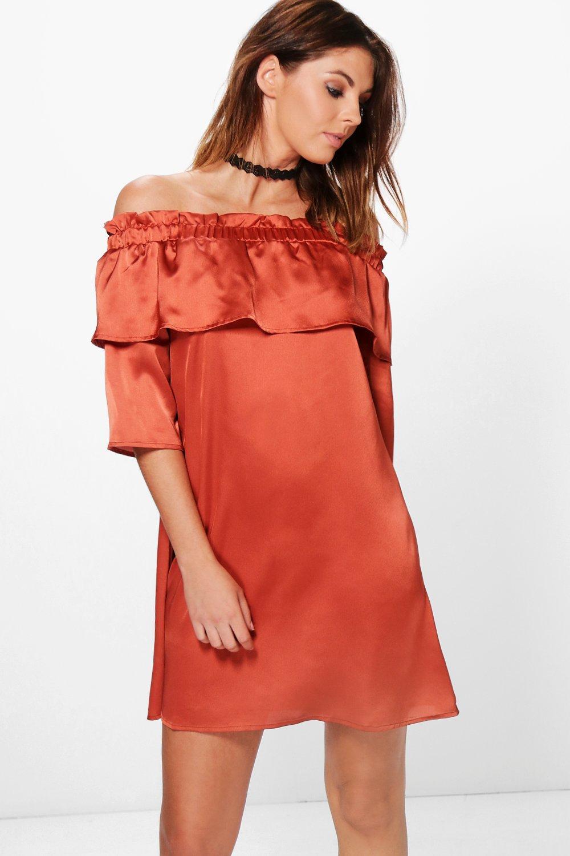 Satin Off Shoulder Frill Shift Dress  amber
