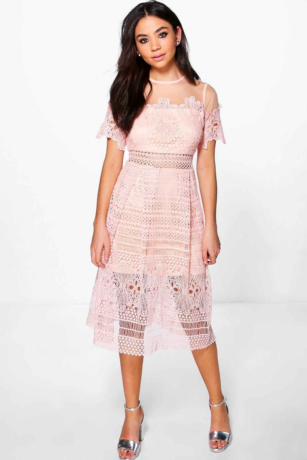 b3090fe31837 Boutique Cary Lace Mesh Midi Skater Dress | Boohoo