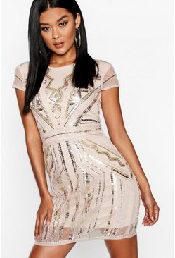 Womens Blush Boutique Sequin Cap Sleeve Shift Dress