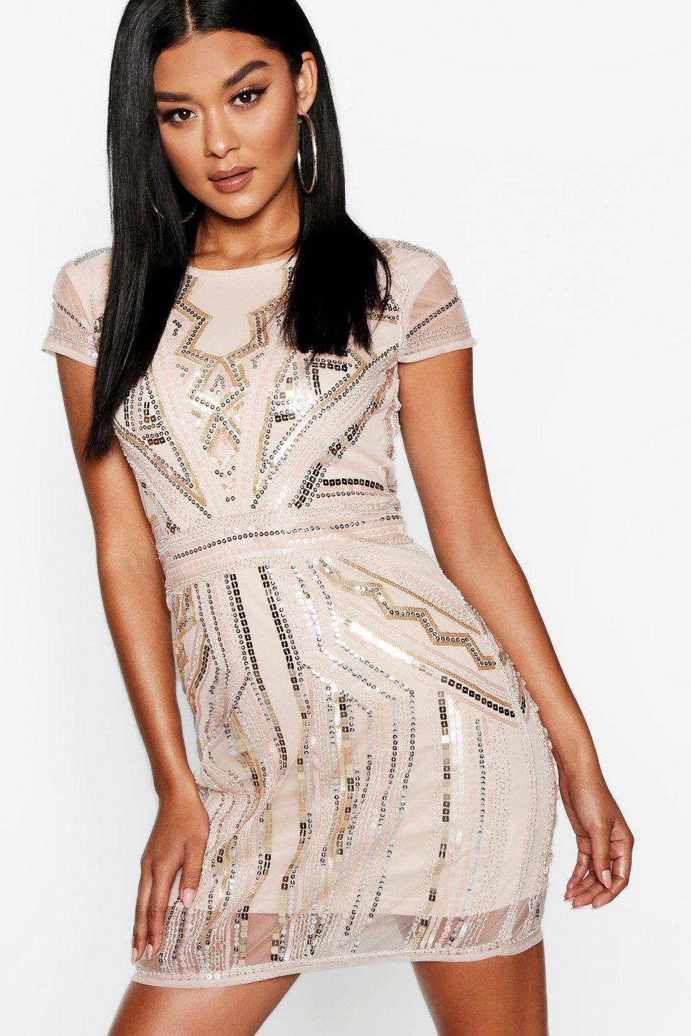df26b33ea5 Boutique Sequin Cap Sleeve Shift Dress