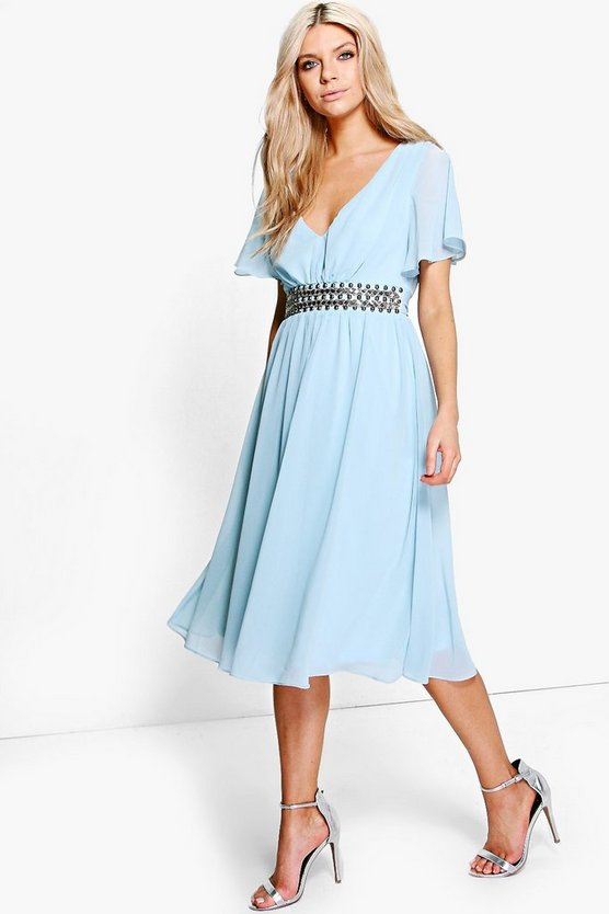 Boutique Embellished Waist Midi Dress