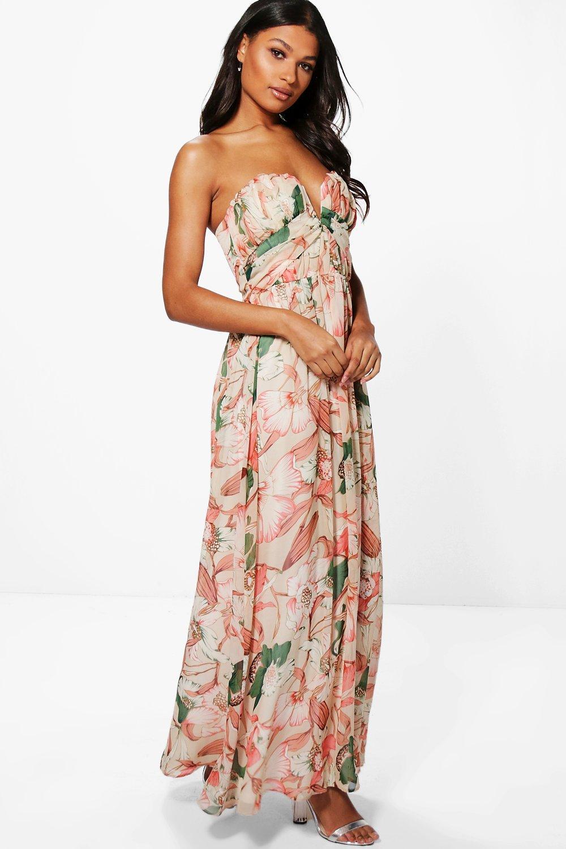 Boutique Kelly Maxikleid mit Bandeau und Blumen Print | boohoo