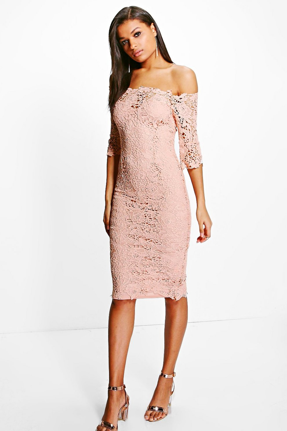 c147e75566e Boutique Crochet Off Shoulder Midi Dress