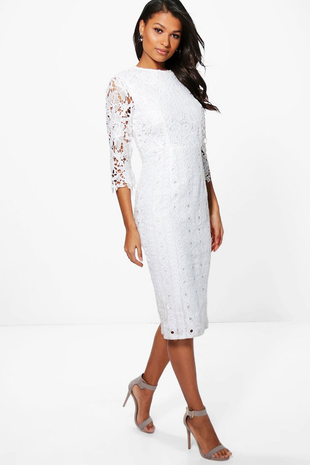 Boutique Kiki Lace 3 4 Sleeve Midi Dress  a6076ef01