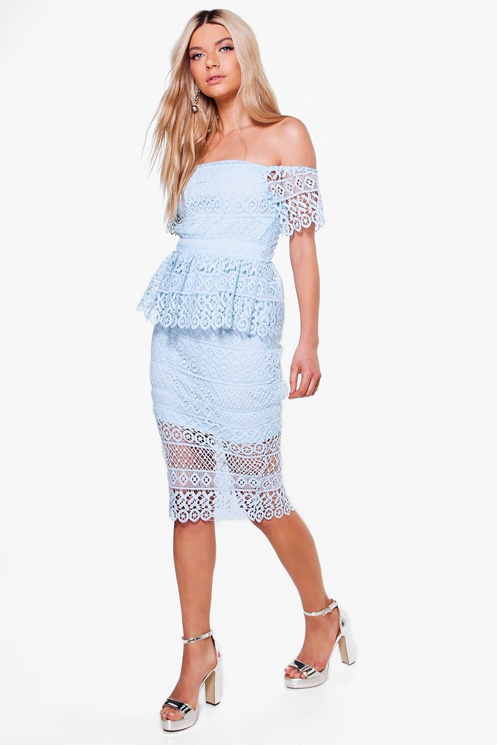 4b3131c52a79 Boutique Lace Peplum Midi Dress | Boohoo