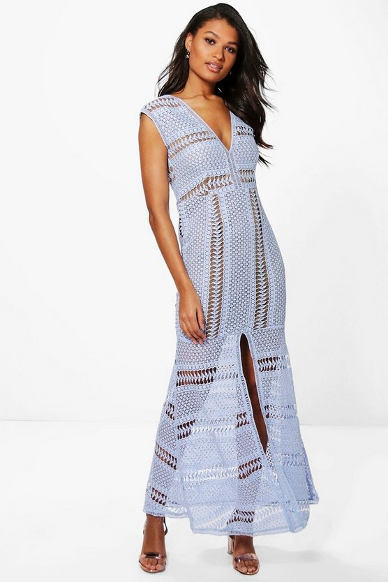 Boutique Corded Lace Panelled Maxi Dress