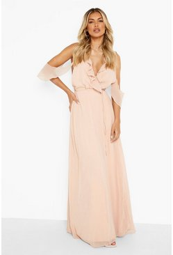 Blush Chiffon Frill Wrap Maxi Bridesmaid Dress