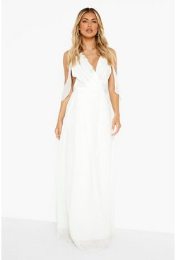 Ivory Chiffon Frill Wrap Maxi Bridesmaid Dress