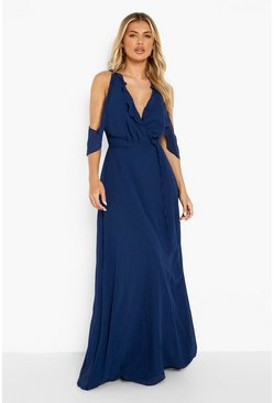 Womens Navy Boutique  Chiffon Frill Wrap Maxi Dress