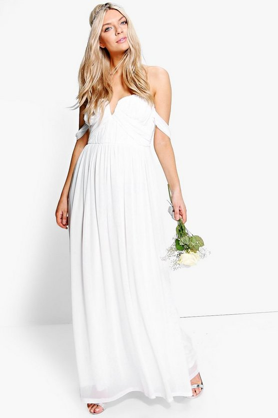 Boutique Mesh Off Shoulder Maxi Dress