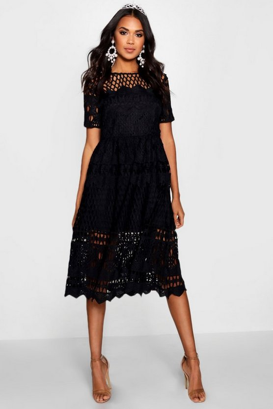Boutique  Corded Lace Panelled Skater Dress
