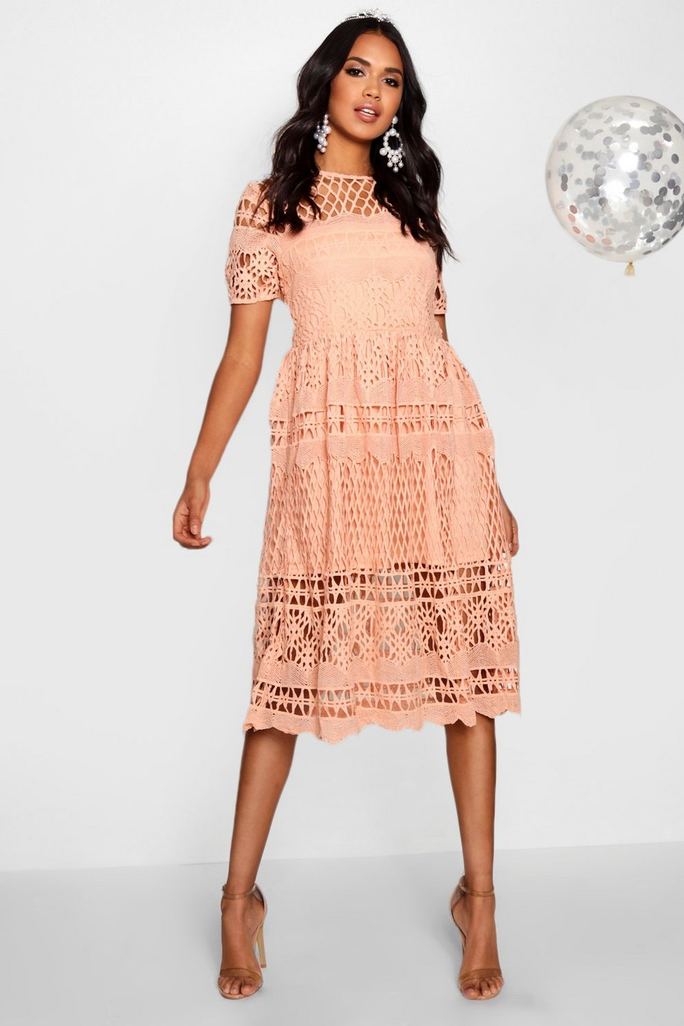 ef513d533e9b Boutique Corded Lace Panelled Skater Dress | Boohoo