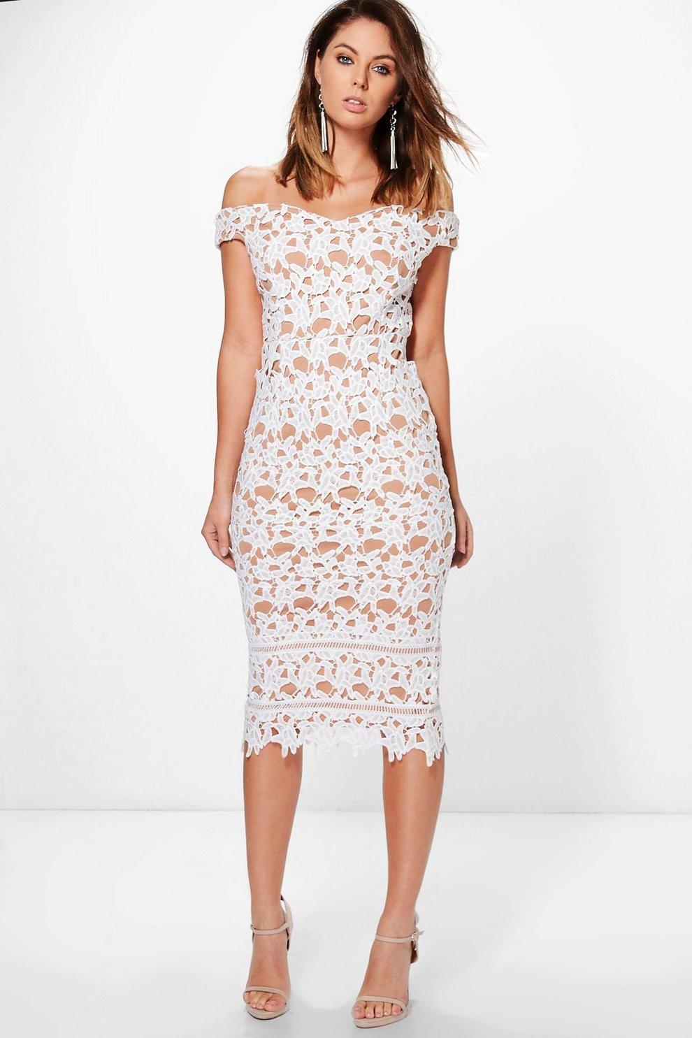 8de14dafc442 Boutique Lacey Crochet Off Shoulder Midi Dress | Boohoo