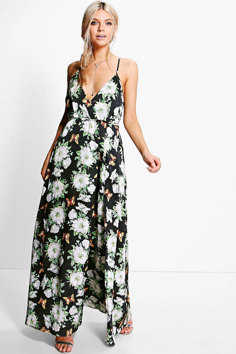 eb37133339c6 Karlie Satin Floral Print Wrap Maxi Dress | Boohoo