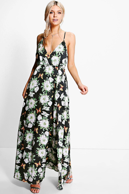 d1925d3f556d9f Karlie Satin Floral Print Wrap Maxi Dress | Boohoo