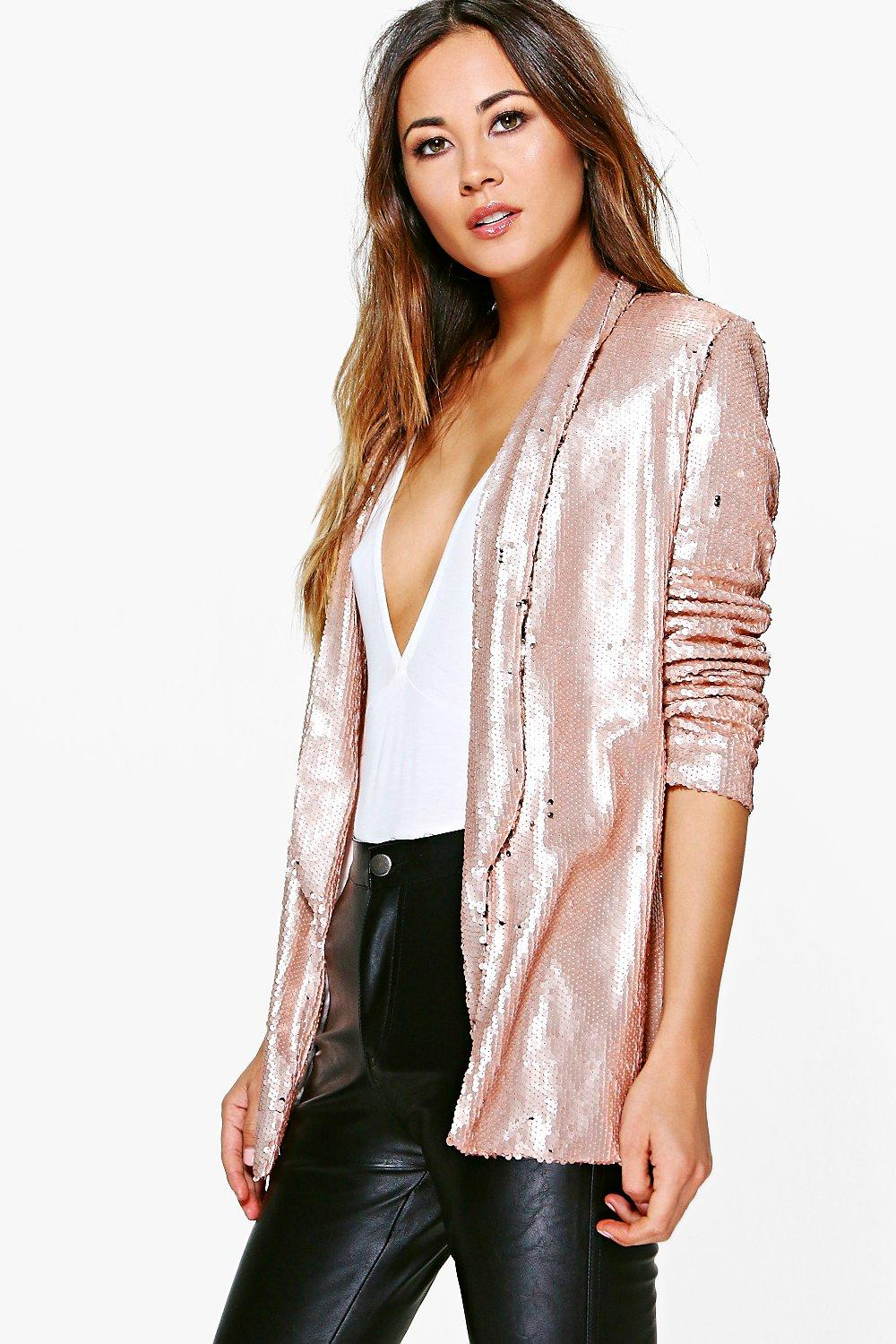 935fdb77f34d96 Womens Nude Lucy Boutique Sequin Blazer. Hover to zoom