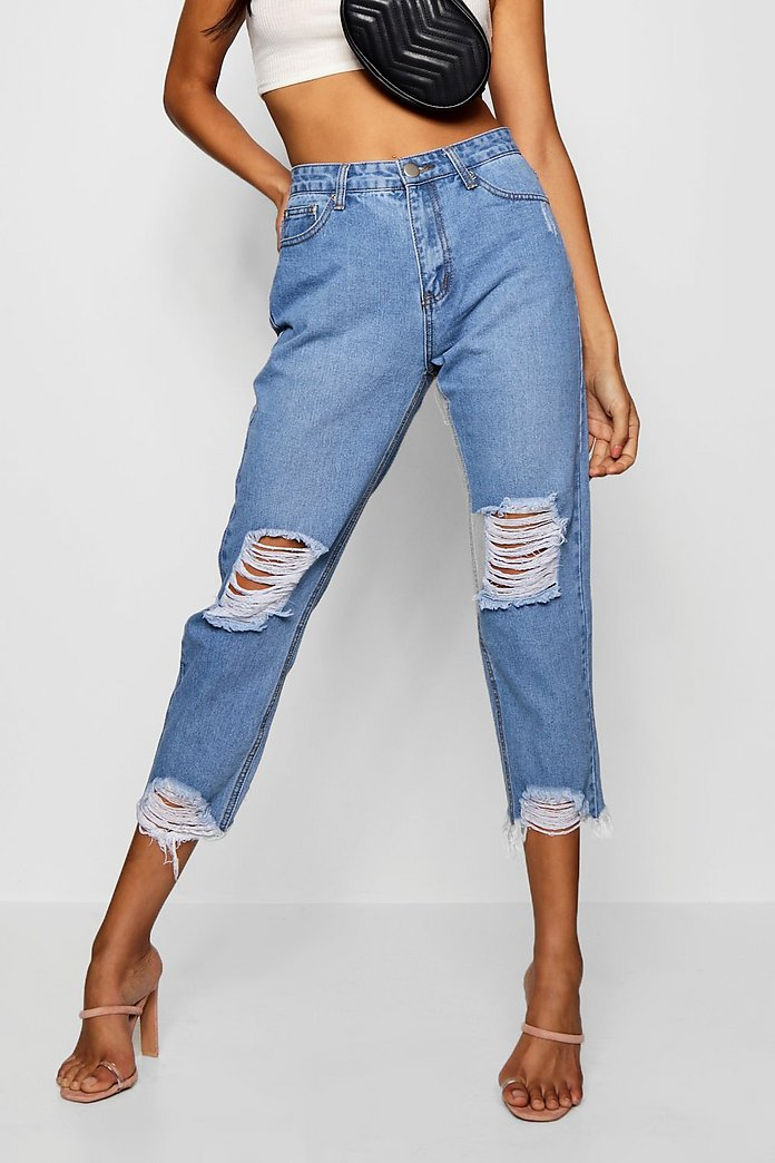 hot sale super quality good looking High Rise Destroyed Hem Boyfriend Jeans