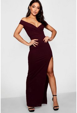 Womens Berry Wrap Top Off Shoulder Maxi Dress