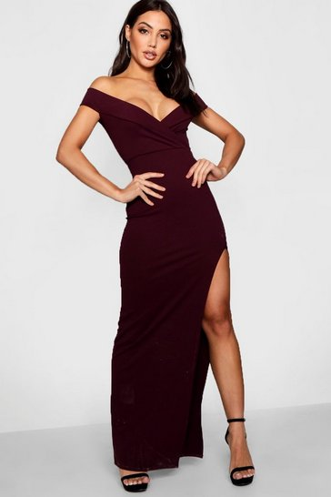 Berry Wrap Off The Shoulder Maxi Bridesmaid Dress
